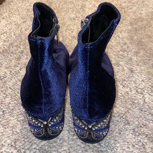 Blue Velvet Butterfly Boots